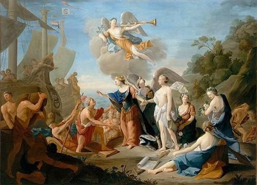 Jean Suau, Allégorie de la France libérant l'Amérique, 1784, huile sur toile, 135 x 186 cm, Blérancourt, Musée national de la Coopération Franco-américaine.