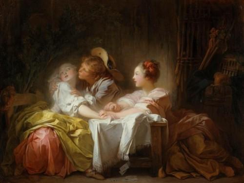 Jean-Honoré Fragonard, L'Enjeu perdu ou Le Baiser gagné, vers 1759-1760, huile sur toile, 48,3 x 63,5 cm, New York, The Metropolitan Museum.