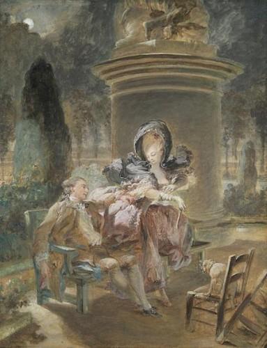 Pierre-Antoine Baudouin, La soirée des Tuileries, 1763-1769, gouache sur papier, 29,2 x 22,6 cm, Collection particulière.