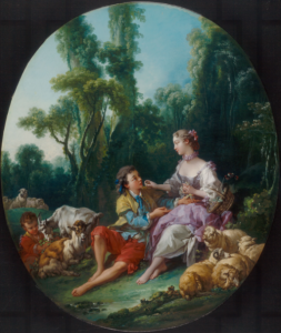 François Boucher, Pensent-ils au raisin ?, 1747, huile sur toile, 80,8 x 26,97 cm, Chicago, Art Institute of Chicago.