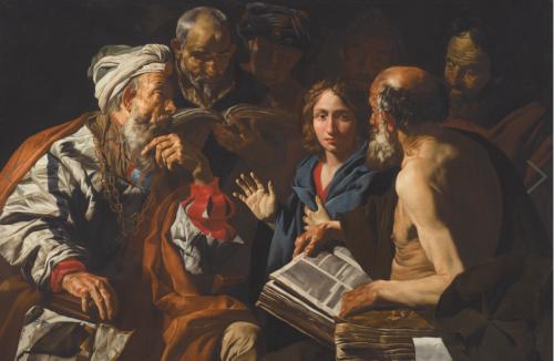 Matthias Stomer, Dispute du christ avec les docteurs, huile sur toile, 136 x 181 cm.