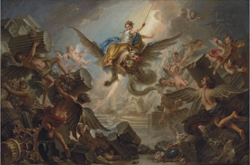 Charles-Antoine Coypel, La Destruction du Palace d'Armide, 1737, huile sur toile, 128 x 193 cm.