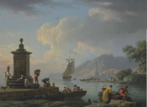 Claude Joseph Vernet, Port méditerranéen avec des personnages déchargeant des marchandises, 1773, huile sur toile, 52,6 x 70,6 cm.