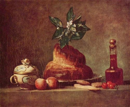Jean-Baptiste-Siméon Chardin, Nature morte avec brioche, huile sur toile, 56 x 47 cm, Paris, musée du Louvre