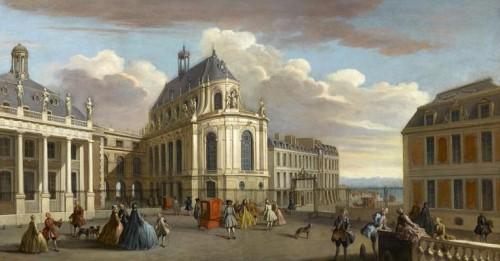 d'après Jacques Rigaud, Vue de château de Versailles sur la cour de la Chapelle, ca. 1725, huile sur toile, 106 x 200 cm, Versailles, musée national des châteaux de Versailles et de Trianon.