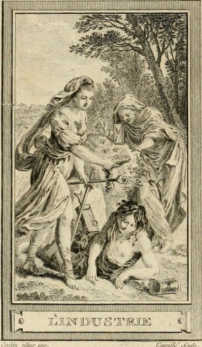 Vauvillé d'après Cochin, L'industrie, 1791, estampe, Paris, Bibliothèque nationale de France.