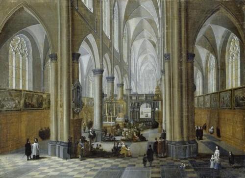 Peeter Neefs le vieux, Intérieur d'une église gothique, XVIIe siècle, huile sur toile, 45 x 62 cm, Schwerin, Staatliches Museum, Kunstsammlungen, Schlösser und Gärten.