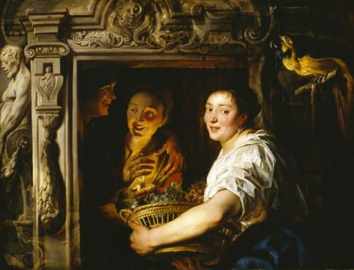 Jacob Jordaens, Servante avec une corbeille de fruits et un couple d'amoureux, vers 1630-1635, huile sur toile, 1197 x 1565 mm, Kelvingrove Art Gallery and Museum.