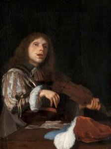Jacob Ochtervelt, Violoniste chantant, 1666, huile sur toile, 25.7 x 20.6 cm, Kelvingrove Art Gallery and Museum. (c) Glasgow Museums