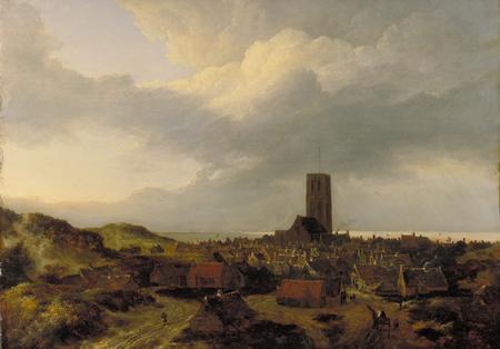 Jacob van Ruisdael, Vue d'Egmond Aan Zee, vers 1647-1652, huile sur toile, 498 x 683 mm, Kelvingrove Art Gallery and Museum.