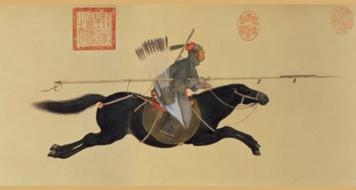 Giuseppe Castiglione (Lang Shining), Ayusi brandissant sa lance, 1755, rouleau horizontal, encre et couleurs sur papier, 27 x 104 cm, Taipei, musée national du palais.
