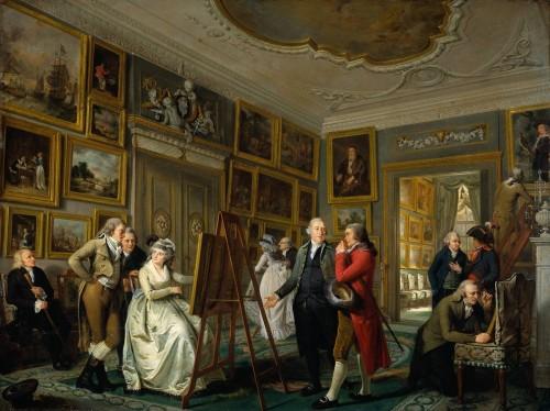 Adriaan de Lelie, La galerie d'art de Jan Gildemeester, 1794 – 1795, huile sur bois, 63,7 x 85,7 cm, Amsterdam, Rijksmuseum.