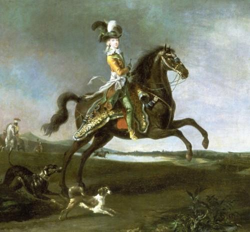 Louis-Auguste Brun, Portrait équestre de la reine Marie-Antoinette, 1783, huile sur toile, 60 x 66 cm, Versailles, musée national des châteaux de Versailles et de Trianon.