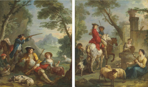 Charles-Joseph Natoire, Scène de chasse, 1737, huile sur toile, 100,6 x 84,7 cm chacune.