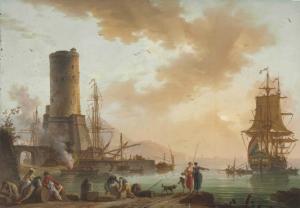 Charles-François Grenier de Lacroix, dit Lacroix de Marseille, Un port méditerranéen, 1758, huile sur cuivre, 41,3 x 58,7 cm.