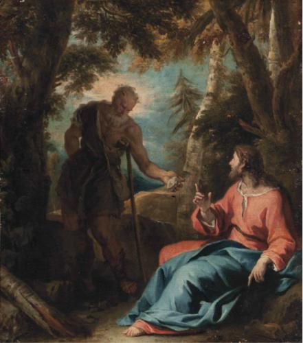 Sebastiano Ricci, Tentation du Christ au désert, huile sur toile, 86,3 x 74,5 cm.