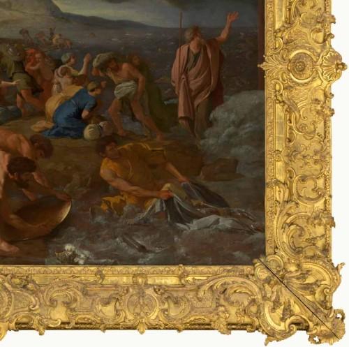 Nicolas Poussin, Le passage de la mer Rouge, ca. 1632-16334, huile sur toile, 155.6 × 215.3 cm, Melbourne, National Gallery of Victoria. (Cadre français dans le style Régence , ca.1710)
