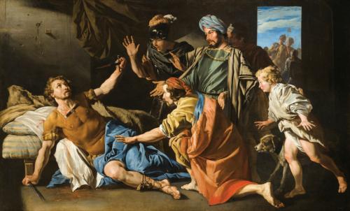 Matthias Stomer, La mort de Brutus, huile sur toile, 131 x 213,5 cm.