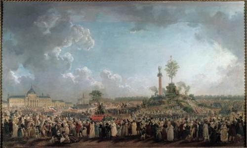 Pierre-Antoine Demachy, La Fête de l'Etre suprême au Champ-de-Mars (20 prairial, an II - 8 juin 1794), ca. 1794, huile sur toile, 53 x 88 cm, Paris, musée Carnavalet.