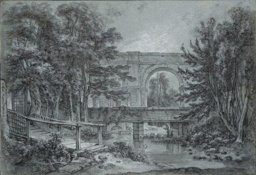 François Boucher, L'aqueduc Médicis et le bras mort de la Bièvre, dessin, 30,7 x 44,5 cm, Vienne, Albertina.