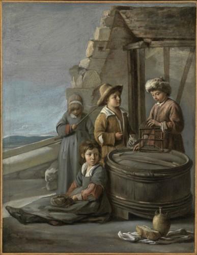 Louis, Antoine et Mathieu Le Nain, Enfants avec une cage à oiseaux et un chat, vers 1646, huile sur toile, Karlsruhe, Staatliche Kunsthalle.