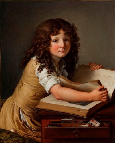 Anne-Louis Girodet-Trioson, Benoît Agnès Trioson regardant des figures dans un livre, 1797, huile sur toile, Montargis, musée Girodet.