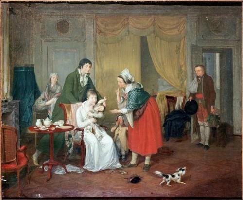 Joseph-Marie Flouest, Départ de l'enfant en nourrice, fin XVIIIe siècle, huile sur toile, 49,5 x 61,5 cm, Dieppe, musée-château.