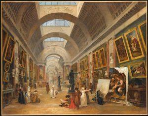 fig. 1. Hubert Robert, Projet pour la Transformation de la Grande Galerie, 1796, huile sur toile, 113 x 143 cm, Paris, musée du Louvre