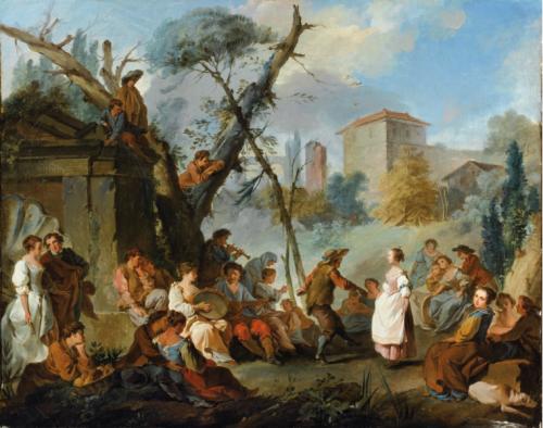 Jean-Baptiste Marie Pierre, Paysage avec personnages jouant de la musique et dansant, huile sur toile, 61,3 x 76,5 cm.