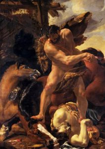 Hercule terrassant Diomède, 1640-1641, huile sur toile,  Nottingham, Castle and Art Gallery