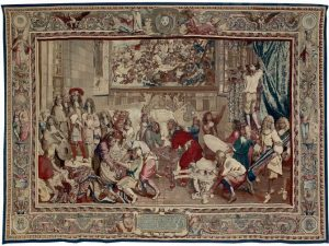 Manufacture des Gobelins, Atelier de Jean Jans le fils, d'après Charles Le Brun, Visite de Louis XIV à la manufacture des Gobelins, haute lisse à or, laine et soie, 4e quart du XVIIe siècle, Paris, Mobilier national