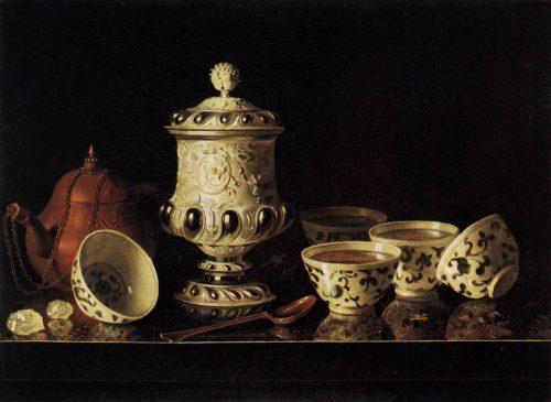 Pieter Gerritsz van Roestraeten, Nature morte avec tasses chinoises, huile sur toile, v. 1670-1680, Berlin,  Gemäldegalerie.