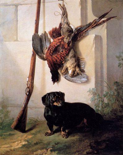 Jean-Baptiste Oudry, Basset, gibier mort et fusil, vers 1740, huile sur toile, Stockholm, Nationalmuseum.