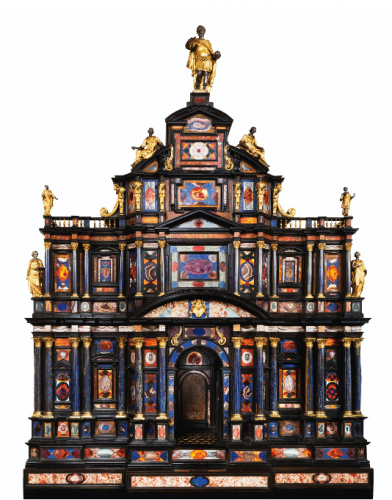 Cabinet en pierres dures, ébène, bronze doré et argent, travail romain, vers 1620, 178 x 126 x 54 cm pour le cabinet et 84 x 153,5 x 65,5 cm pour la console