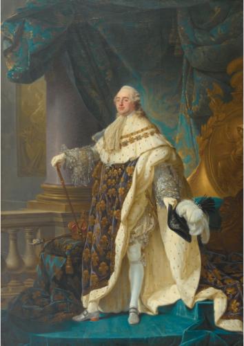 Antoine-François Callet, Portrait d'apparat de Louis XVI, dans le grand habit du jour de son sacre, 1778, huile sur toile, 268 x 190 cm.