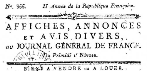 Affiches, annonces et avis divers ou Journal général de France, n°355, Primidi 1er nivose, BnF