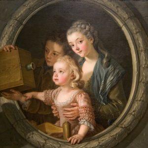 Charles Amédée Philippe Van Loo, La Lanterne magique, 1764, huile sur toile, 88,6 x 88,5 cm.