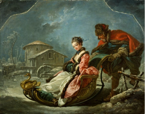 François Boucher, Les Quatre Saisons : L'Hiver, 1755, huile sur toile, 56,8 x 73 cm, New York, Frick Collection.