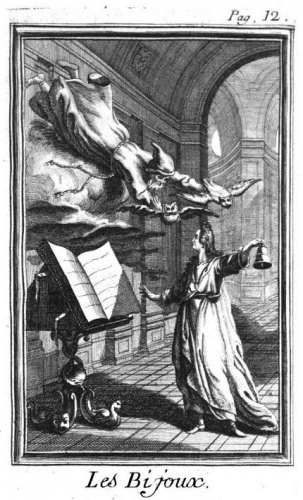 Anonyme, Evocation du Génie, gravure, dans DIDEROT, Denis, Oeuvres philosophiques, Les Bijoux indiscrets, Amsterdam, Rey, 1772, t. V, p. 12.