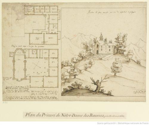 Etienne Martellange, Plan du Prieuré de Notre-Dame des Baumes, 1605, 29 x 42,5 cm, dessin, Paris, Bibliothèque nationale de France;