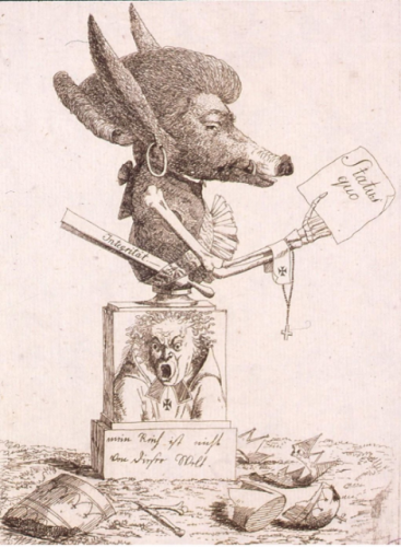 Anonyme, Intergritaet-Status quo, 1793, gravure, 30,7 x 23,6 cm, Strasbourg, Bibliothèque nationale et universitaire de Strasbourg.