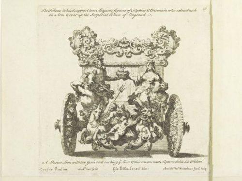 Andrea Cornely, d'après Ciro Ferri, Dessin pour un carrosse, gravure,  c. 1687, Londres, V&A V&A 19393.