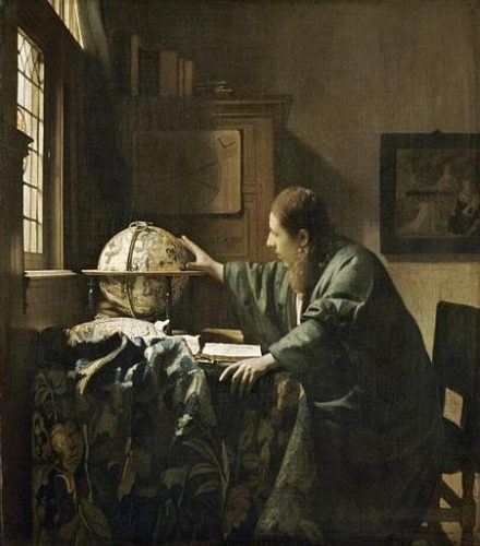 Johannes Vermeer, L'Astrologue, dit aussi l'Astronomie, 1668, huile sur toile, 51,5 x 45,5 cm, Paris, musée du Louvre.