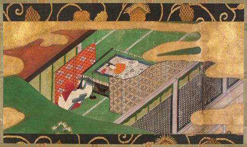 """Atelier de Tawaraya Sōtatsu, Scene from """"The Ivy"""" (Yadorigi), chapter 49 of the Tale of Genji, début du XVIIe siècle, encres et or sur papier, 25 x 55 cm, New York, Metropolitan Museum."""